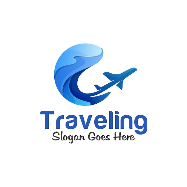 Logotipo gradiente de viagens de verão, oceano, mar, onda com o conceito de logotipo de avião Vetor Premium