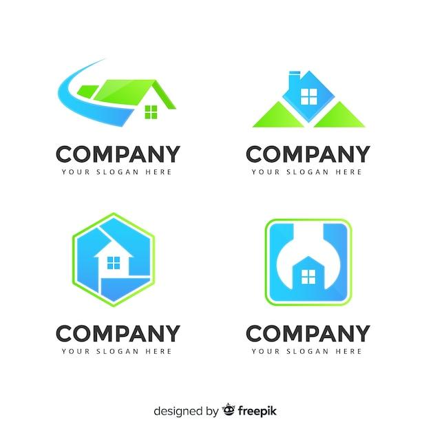 Logotipo imobiliário moderno collectio Vetor grátis