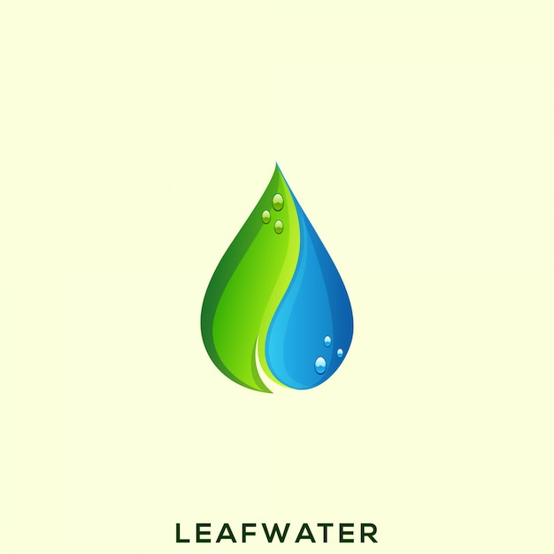 Logotipo impressionante da água da folha Vetor Premium