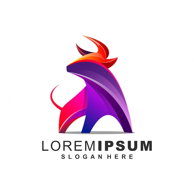Logotipo impressionante do touro Vetor Premium