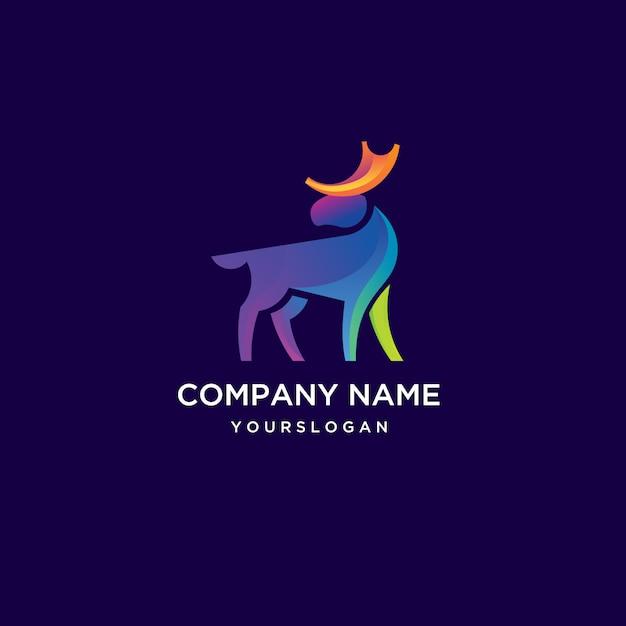 Logotipo impressionante dos alces com cor do arco-íris Vetor Premium