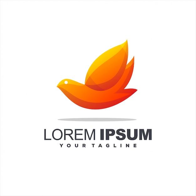 Logotipo impressionante pássaro gradiente Vetor Premium