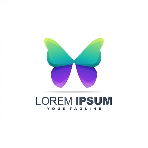 Logotipo incrível gradiente de borboleta Vetor Premium