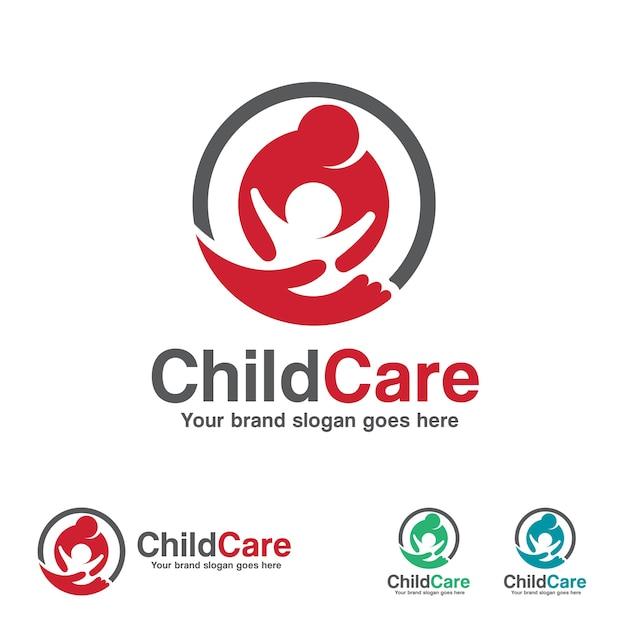 Logotipo infantil, mãe e filho com símbolo de mão Vetor Premium