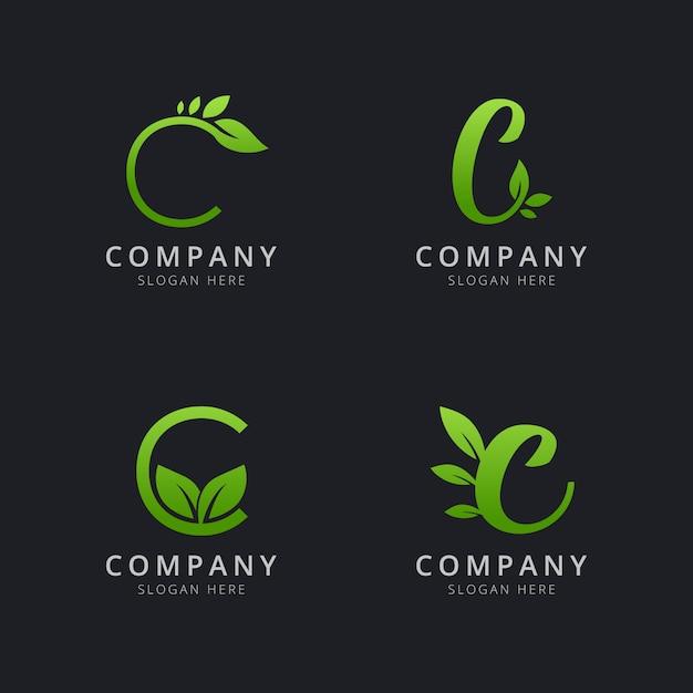Logotipo inicial c com elementos de folha na cor verde Vetor Premium