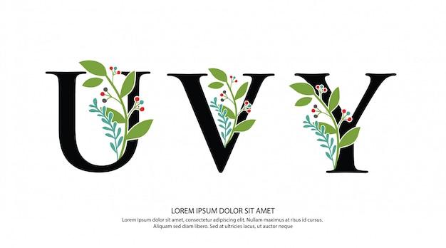 Logotipo inicial da letra de uvy com forma da flor Vetor Premium