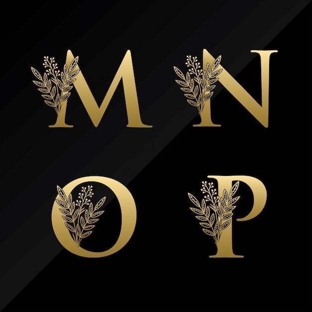 Logotipo inicial da letra mnop com a flor simples na cor do ouro Vetor Premium