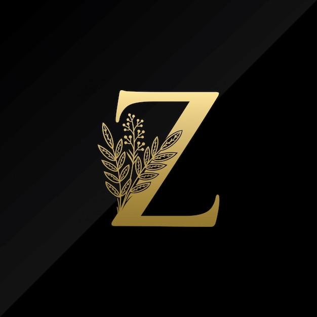 Logotipo inicial da letra z com a flor simples na cor do ouro Vetor Premium
