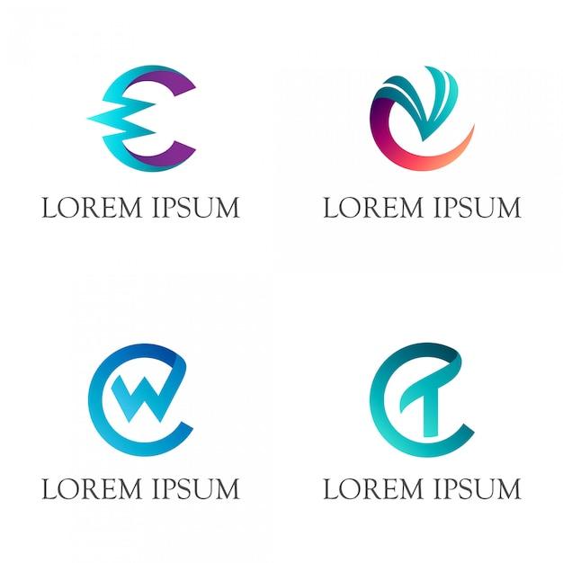 Logotipo inicial do monograma da letra c Vetor Premium