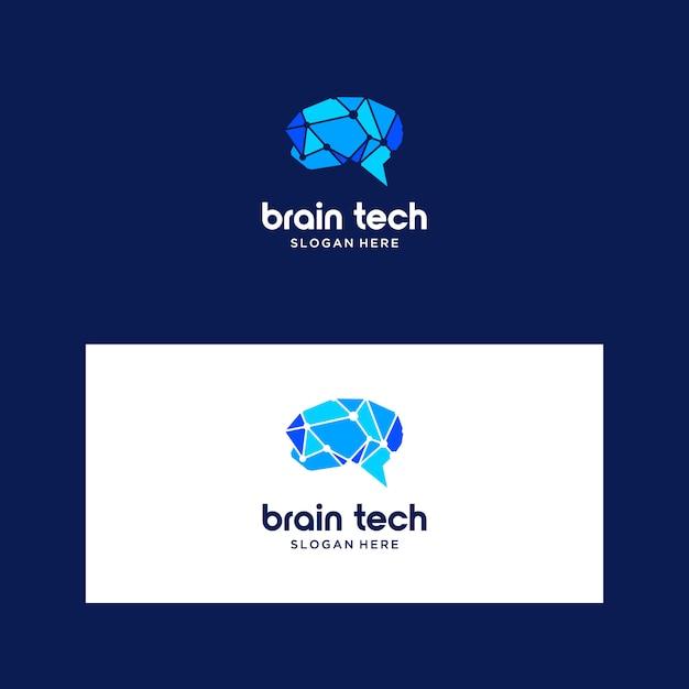 Logotipo inteligente do cérebro Vetor Premium