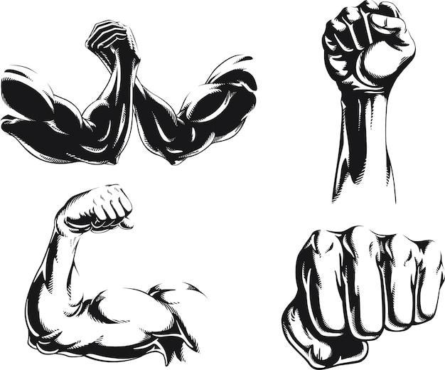 Logotipo isolado do braço do fisiculturista silhouette mma, ilustração em estilo preto e branco Vetor Premium