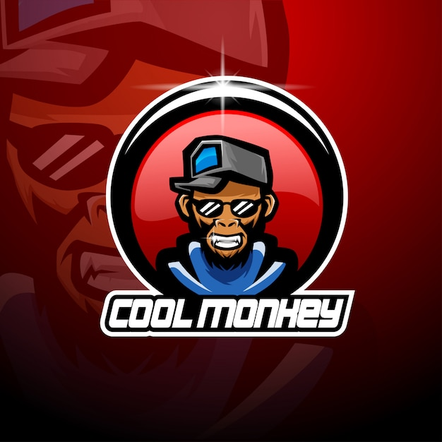 Logotipo legal da mascote esport macaco Vetor Premium