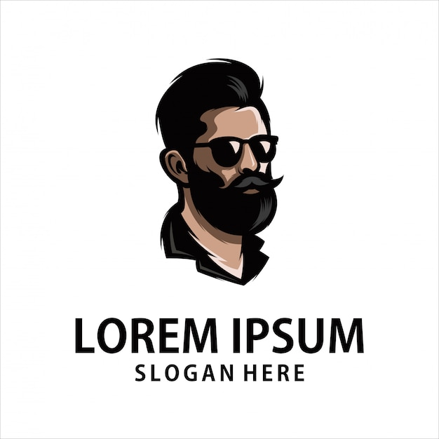 Logotipo legal do homem de barba Vetor Premium