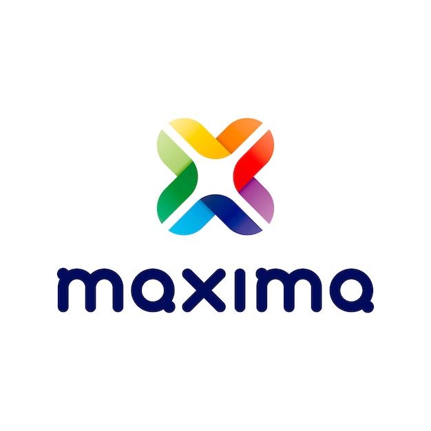 Logotipo maxima abstract letter x Vetor Premium
