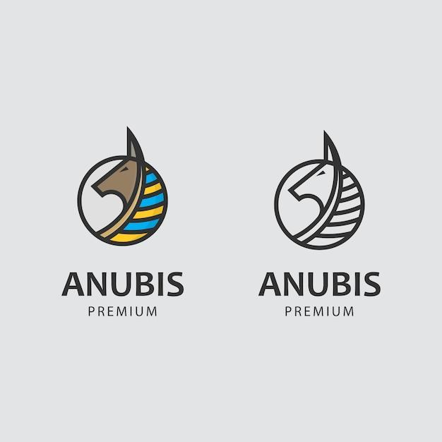 Logotipo minimalista com deus anubis Vetor Premium