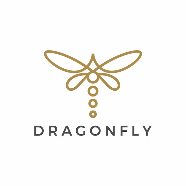 Logotipo minimalista de contorno de libélula Vetor Premium