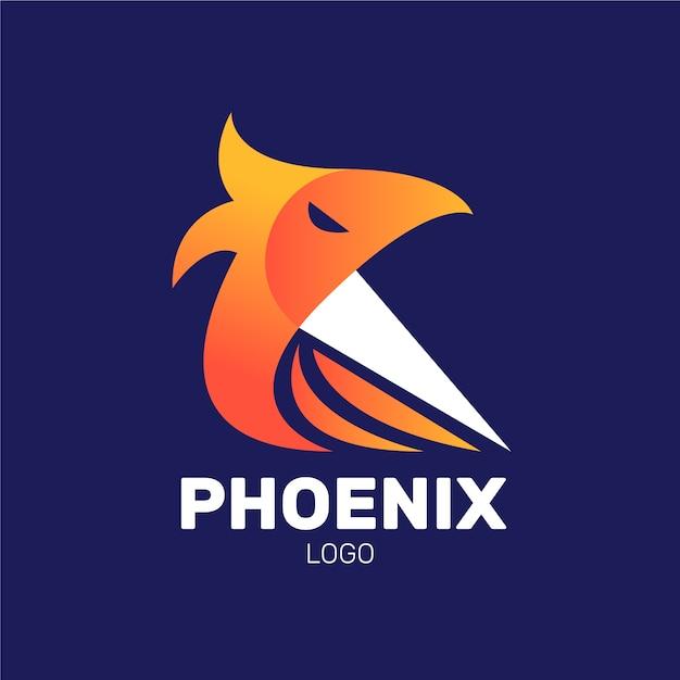 Logotipo minimalista do pássaro phoenix Vetor Premium