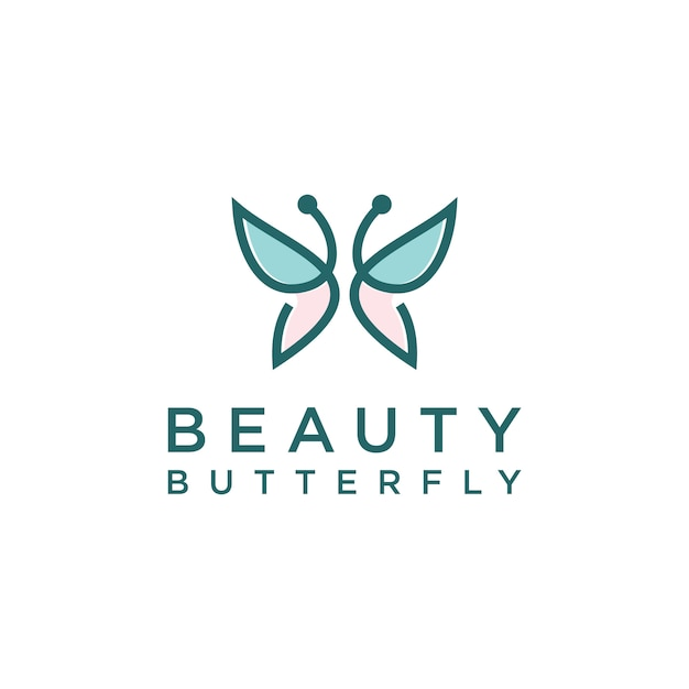 Logotipo minimalista em forma de monograma de arte em linha de borboleta Vetor Premium