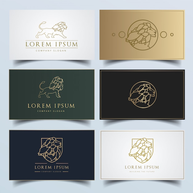 Logotipo moderno do leão com variações editáveis do cartão Vetor Premium