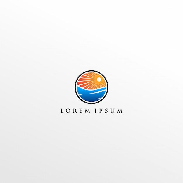 Logotipo moderno do nascer do sol Vetor Premium