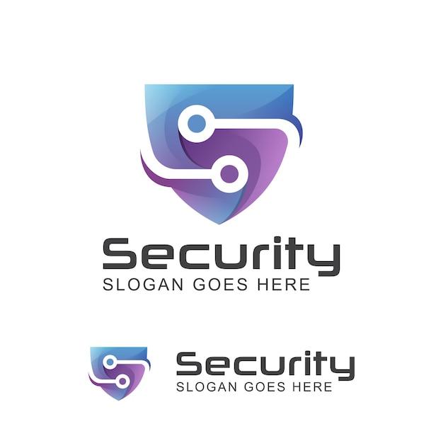 Logotipo moderno do sistema de tecnologia de segurança criativa letra s com símbolo de escudo Vetor Premium