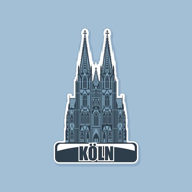 Logotipo monocromático da catedral da cidade de colônia. Vetor Premium