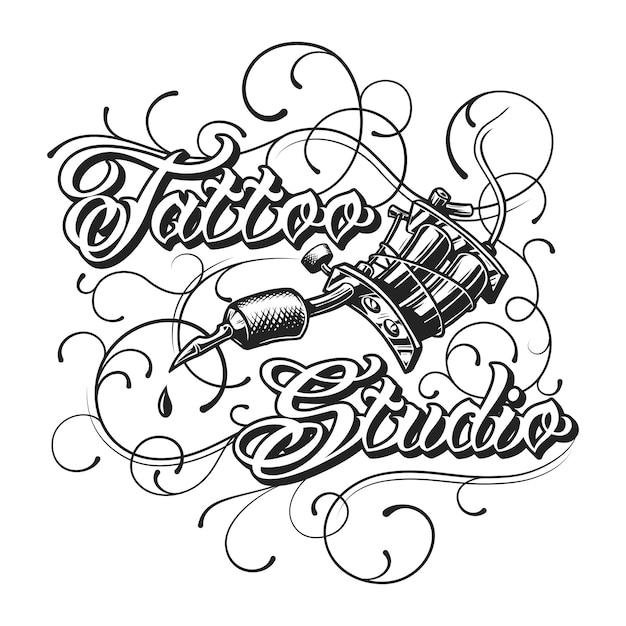 Logotipo monocromático de estúdio de tatuagem vintage Vetor grátis