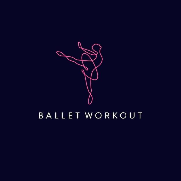 Logotipo monolino do exercício de ballet Vetor Premium