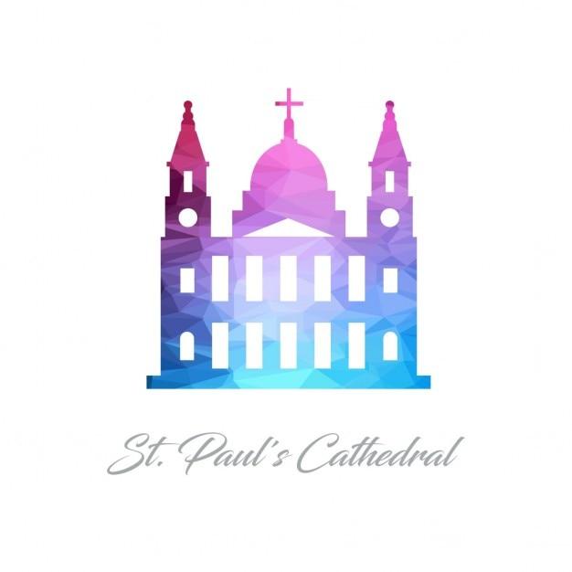 Logotipo monumento abstracta para a catedral de são paulo feito de triângulos Vetor grátis