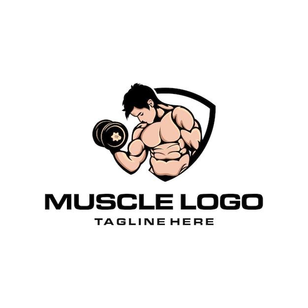 Logotipo muscular Vetor Premium