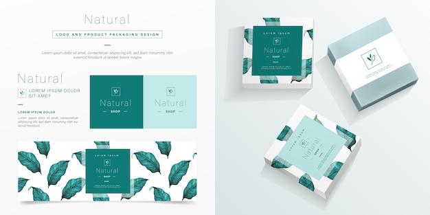 Logotipo natural e modelo de design de embalagem. mockup pacote de sabão em design minimalista. Vetor Premium