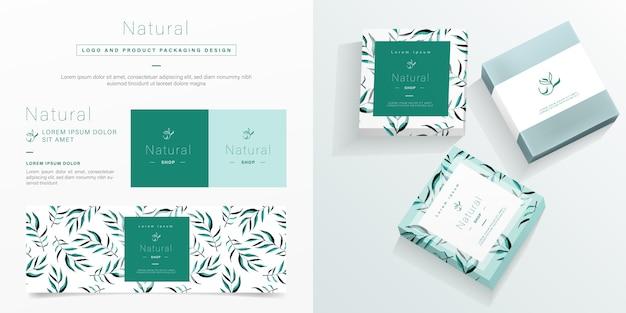 Logotipo natural e modelo de embalagem. Vetor Premium