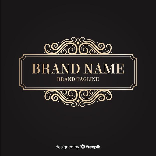 Logotipo ornamental dourado elegante Vetor grátis