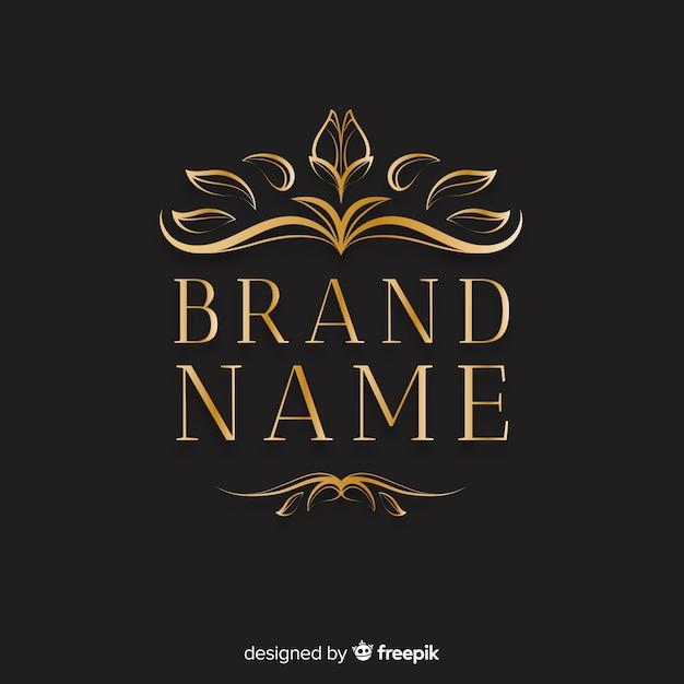 Logotipo ornamental elegante com folhas Vetor grátis