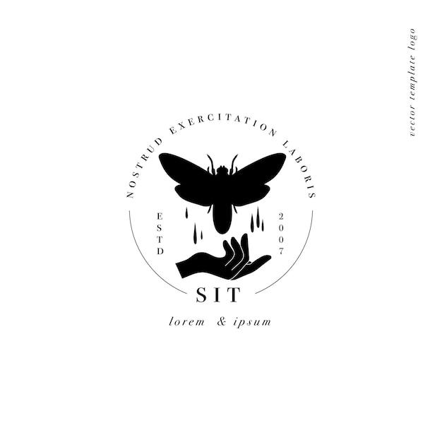 Logotipo ou emblema do modelo linear de design Vetor Premium