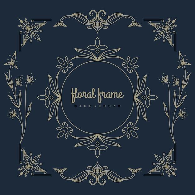 Logotipo premium com moldura floral Vetor Premium