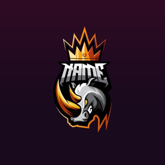 Logotipo premium de jogos de rinoceronte Vetor Premium