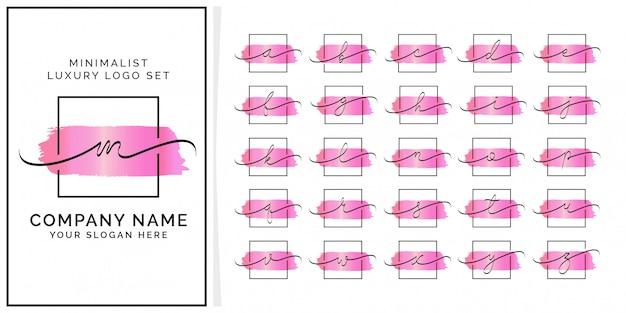 Logotipo premium inicial feminim quadrado minimalista Vetor Premium