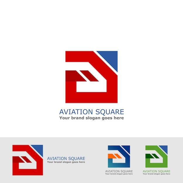 Logotipo quadrado da aviação Vetor Premium