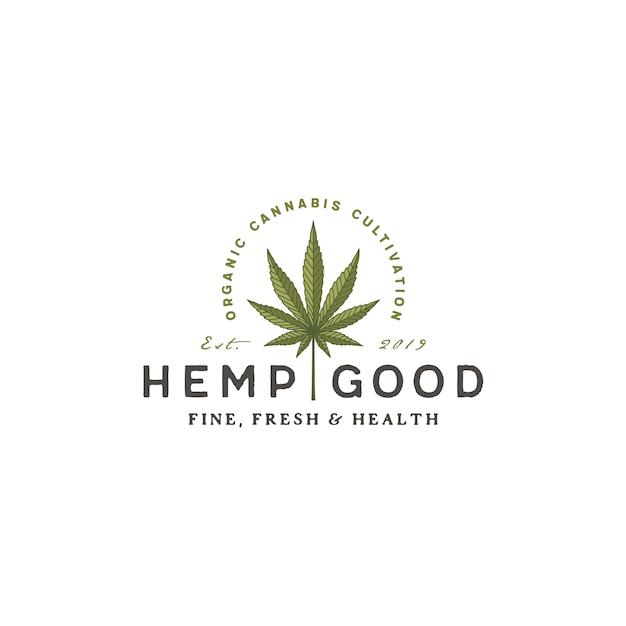 Logotipo retro do cbd do cânhamo da marijuana da cannabis do vintage Vetor Premium