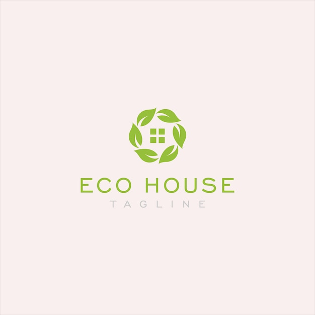 Logotipo simples casa eco Vetor Premium
