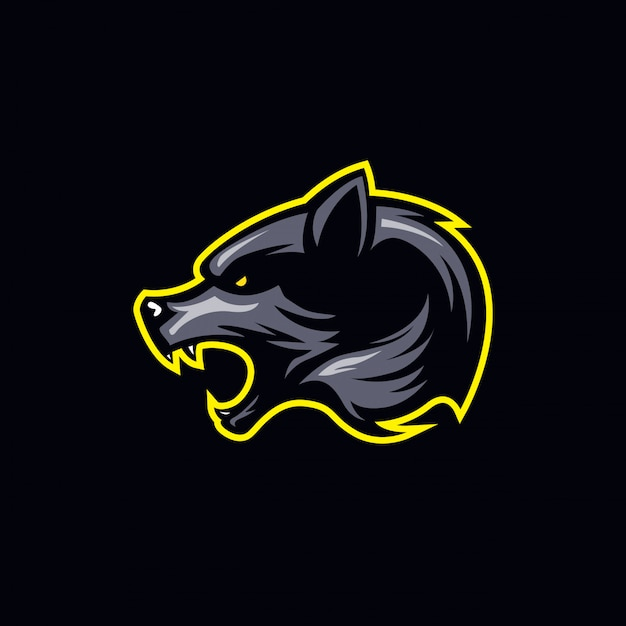 Logotipo simples de cabeça de lobo em tons escuros Vetor Premium
