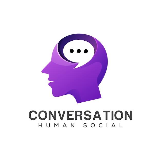 Logotipo social humano de conversa, consultoria, mídias sociais, falar falar, fórum, cabeça de pessoas com o conceito de logotipo de bate-papo de bolha Vetor Premium