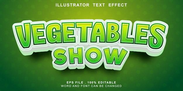 Logotipo texto efeito legumes editáveis mostrar Vetor Premium