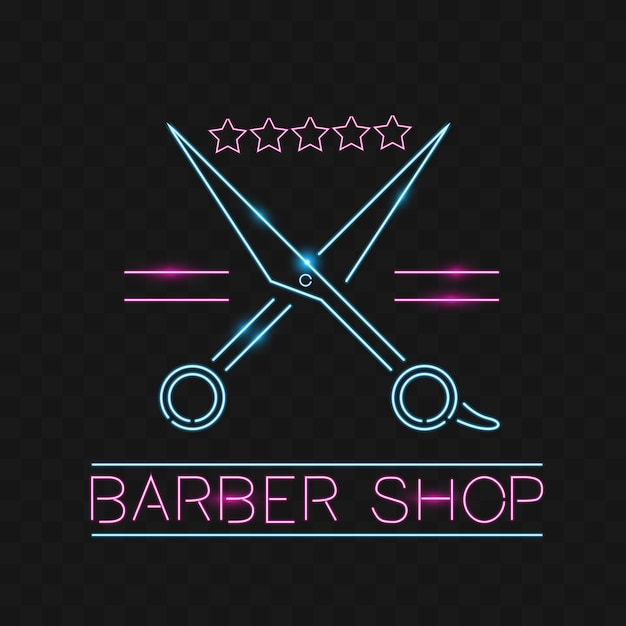 Logotipo, um sinal de néon para cabeleireiro e barbeiro. Emblema, etiqueta  estilo neon