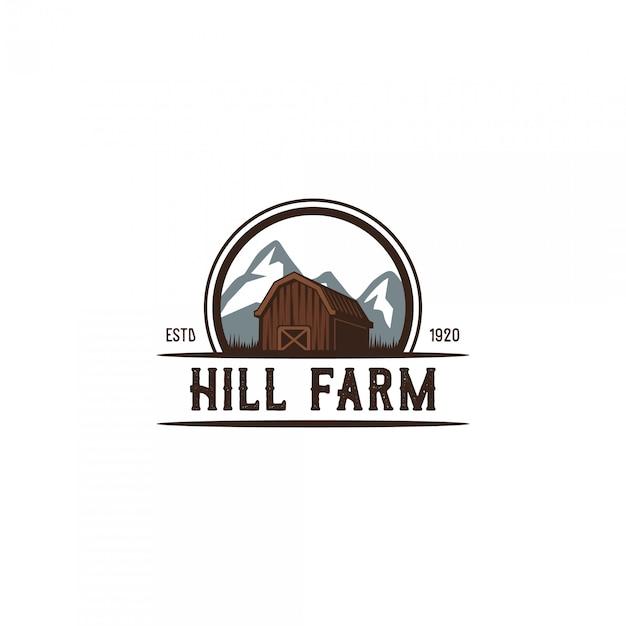 Logotipo vintage de agricultor de colina Vetor Premium