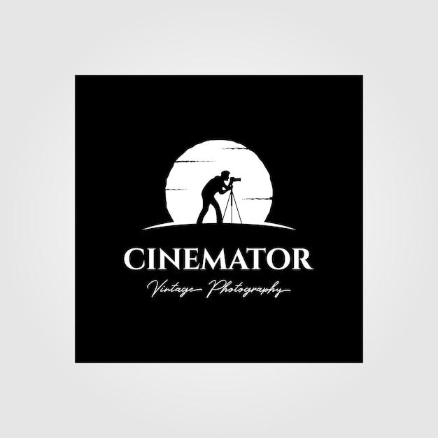Logotipo vintage de fotografia de cinematografia com projeto de ilustração de fundo de lua Vetor Premium