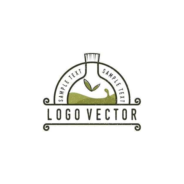 Logotipo vintage de garrafa de óleo essencial Vetor Premium