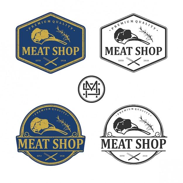 Logotipo vintage de loja de carne Vetor Premium