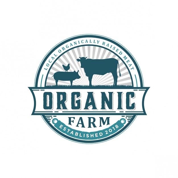 Logotipo vintage fazenda orgânica Vetor Premium